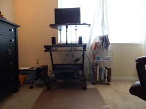 Sit/stand desk in stand position.